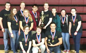 SCIENCE OLYMPIAD STATE CHAMPS: Front Row: Journey Dawa, Emily Tvedt, and Heather Boothman. Back Row: Sadie Player, Lily Cripe, Lexi Flockhart, Coach Alaina Appley, Alex Huang, Kate Liberko, Evan Tvedt, Laurel Sherman, and Brandon Lochner.