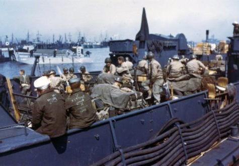 View of an L.T.C. with American troops and equipment loaded aboard awaiting the siganl for the assault against the continent in June 1944. England.